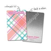Personalized Rectangle Metal Washi Card - August Plaid