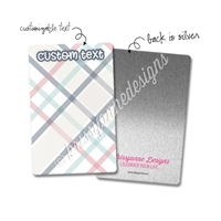 Personalized Rectangle Metal Washi Card - September Plaid