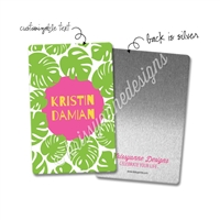 Personalized Rectangle Metal Washi Card - Summer Paradise Palms