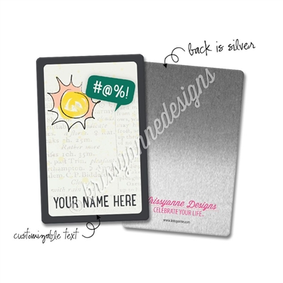 Personalized Rectangle Metal Washi Card - #@%!