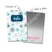 Personalized Rectangle Metal Washi Card - Winter Snowflakes