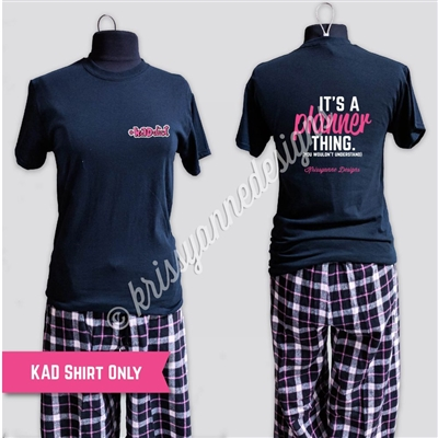 KADdict Wear - Black Planner Thing Shirt Only