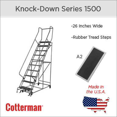 Cotterman (Series 1500) 26 Inch Rolling Steel Safety Ladder - Rubber Tread Steps (A2)