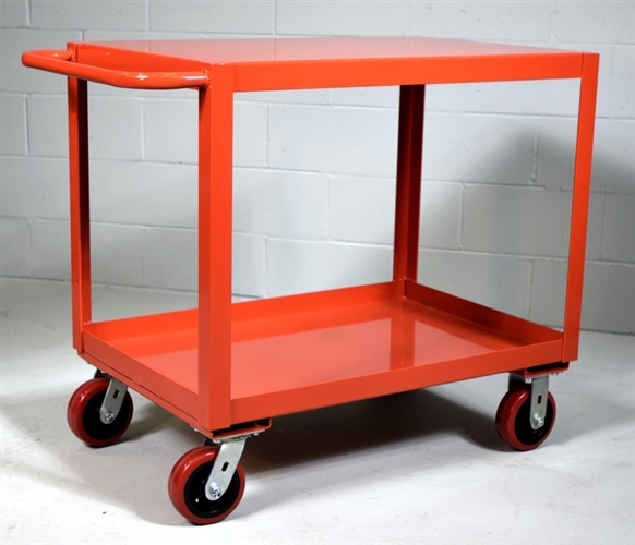"Heavy Duty Two Shelf Utility Cart - 24"" x 36"" Shelf Size, Color Red"