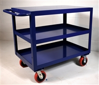 "Heavy Duty Three Shelf Utility Cart - 24"" x 36"" Shelf Size, Color Blue"