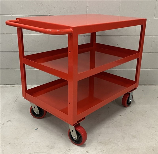 "Heavy Duty Three Shelf Utility Cart - 24"" x 36"" Shelf Size, Color Red"