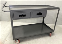 Ergonomic handle cart with two shelves and two drawers