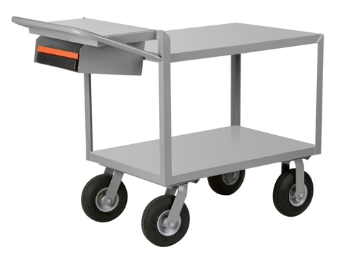 "EW17 - Cushion Load Order Picking Service Cart w/ Pneumatic Casters - 24"" x 36"" Shelf Size"
