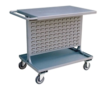 "NC17 - Two Shelf Bin Cart with Double Sided Louvered Panel - 24"" x 36"" Shelf Size"