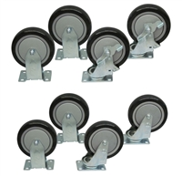 "Y1SS - 5"" x 1-1/4"" Polyurethane Casters with Stainless Steel Rigs - 1,200-lbs. Capacity"