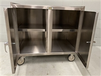 "Slightly Used Stainless Mobile Cabinet w/ Middle Shelf - 24"" x 36"" Shelf Size"