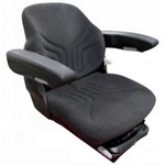 New Complete Seat w/ Air Suspension & Arm Rests - Black Fabric