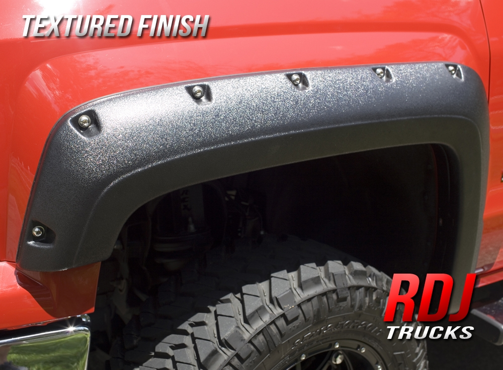 RDJ Trucks PRO-Offroad Bolt-On Style Fender Flares Set of 4 Fits F250//F350 SuperDuty 2008-2010 Paintable OE Smooth Black