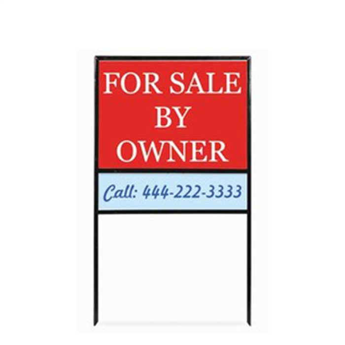 """18/""""x24/"""" For Sale By Owner Sign Kit with Stands 2 Pack RED Large"""