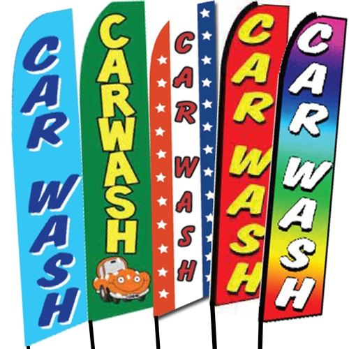 CAR WASH Red Carwash Swooper Banner Feather Flutter Bow Tall Curved Top Flag