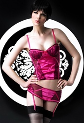 Satin bustier with lace overlay on sides and cup by Sensual Mystique