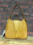 Crocodile Print Leather Hobo Handbag