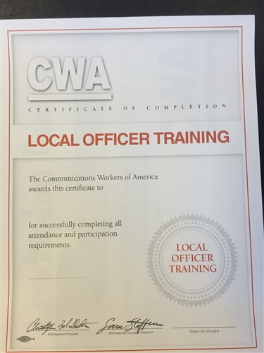 Certificate - Local Officers Training