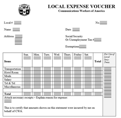 Local Expense Voucher (25 pack)