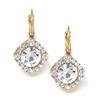 Crystal Solitaire Gold Drop Earrings