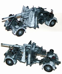 German 88mm Flak 36/37 Anti-Aircraft Gun with Trailer in Winter Camouflage