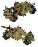 German 88mm Flak 36/37 Anti-Aircraft Gun with Trailer in Ambush Camouflage