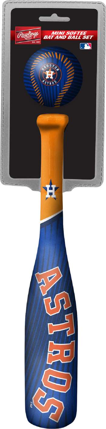 MLB Houston Astros Mini Slugger Mini Baseball Bat & Ball Set Lightweight 13? bat and 2? ball
