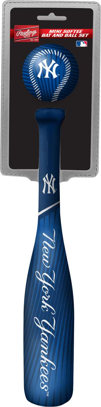 MLB New York Yankees Mini Slugger Mini Baseball Bat & Ball Set Lightweight 13? bat and 2? ball