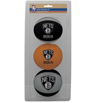 NBA Brooklyn Nets Three Point Shot Softee Basketball 3-Ball Set