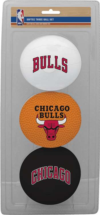 NBA Chicago Bulls Three Point Shot Softee Basketball 3-Ball Set