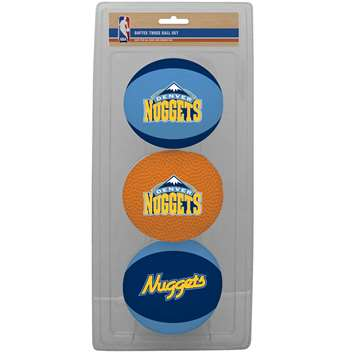 NBA Denver Nuggets Three Point Shot Softee Basketball 3-Ball Set