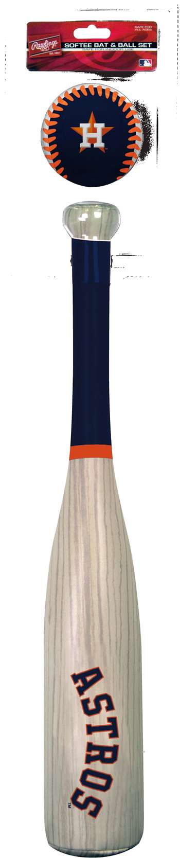 MLB Houston Astros Grand Slam Softee Baseball Bat and Ball Set (Wood Grain)