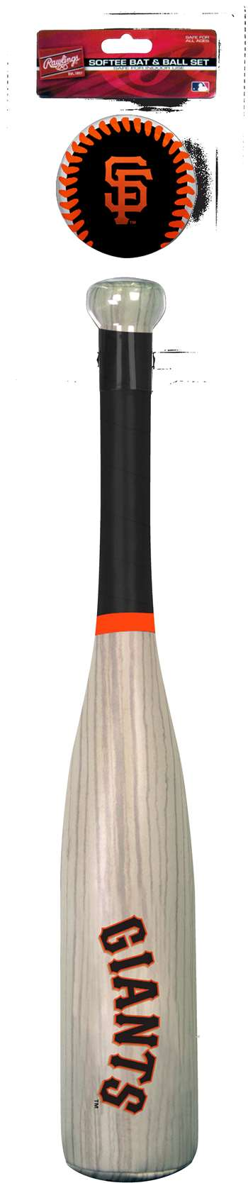 MLB San Francisco Giants Grand Slam Softee Baseball Bat and Ball Set (Wood Grain)