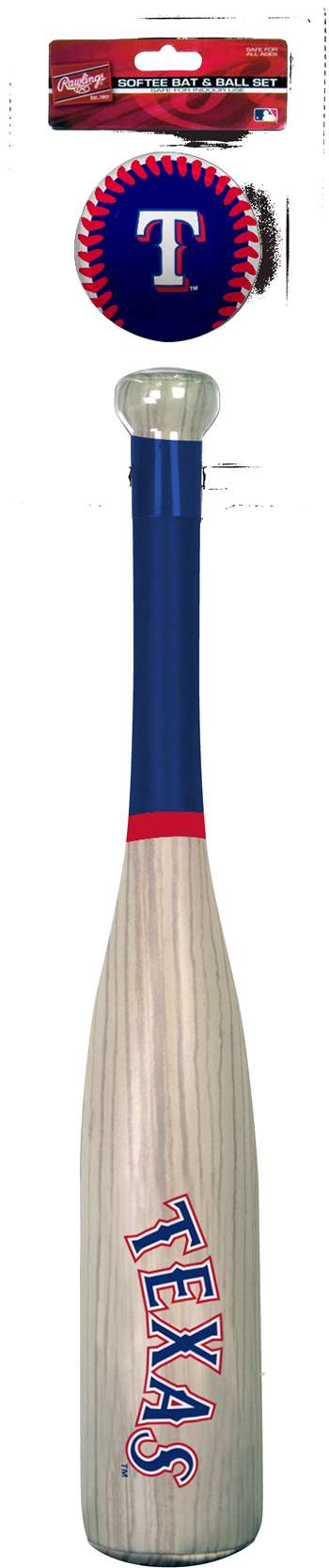 MLB Texas Rangers Grand Slam Softee Baseball Bat and Ball Set (Wood Grain)