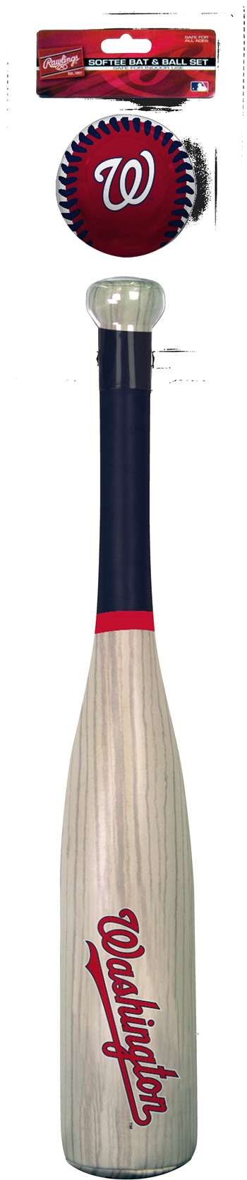 MLB Washington Nationals Grand Slam Softee Baseball Bat and Ball Set (Wood Grain)