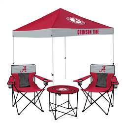 University of Alabama Crimson Tide Tailgate Bundle - Set Includes 9X9 Canopy, 2 Chairs and 1 Side Table