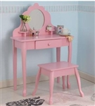Medium Pink Vanity Table & Stool
