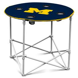 University of Michigan Wolverines Round Folding Table with Carry Bag