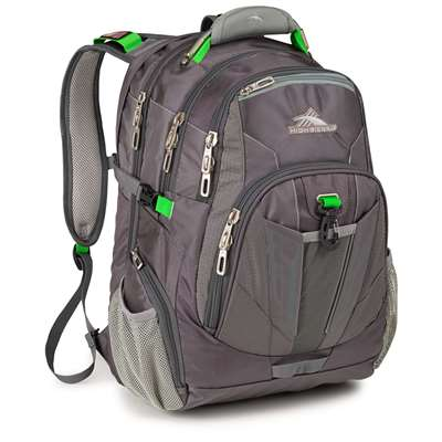 High Sierra TSA Backpack Charcoal/Silver/Kelly