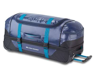 High Sierra Kennesaw 30 in. Drop-Bottom Wheeled Duffel  TRUE NAVY/BLACK/SEA