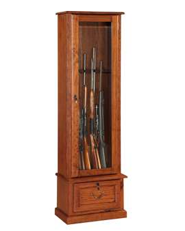 American Furniture Classics Model 600, 8 Gun Cabinet with locking tempered glass door and locking drop down door.