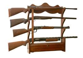 American Furniture Classics Model 840, 4 Gun Wall Rack with locking storage compartment