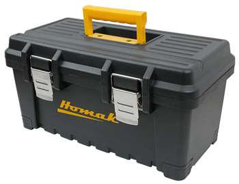 Homak Plastic Tool Box with Metal Latches, 22-Inch, Black
