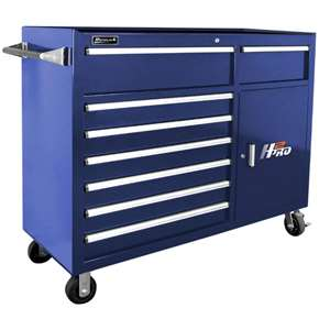 Homak H2PRO Series 56-Inch 8-Drawer with 2-Drawer Compartment Roller, Blue