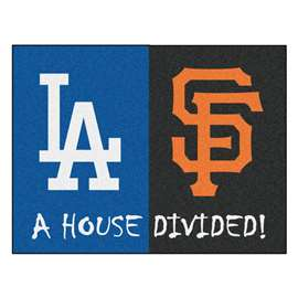 "MLB - Dodgers - Giants House Divided Rug 33.75""x42.5""  House Divided Mat"