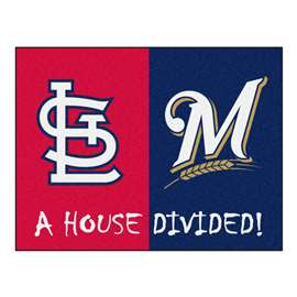"MLB - Cardinals - Brewers Divided Rug 33.75""x42.5""  House Divided Mat"