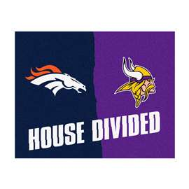 NFL House Divided - Broncos / Vikings House Divided Mat Rectangular Mats
