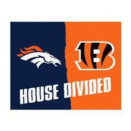 NFL House Divided - Broncos / Bengals House Divided Mat Rectangular Mats
