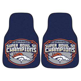 NFL - Denver Broncos Super Bowl 50 Champions  2-pc Printed Carpet Car Mat Set