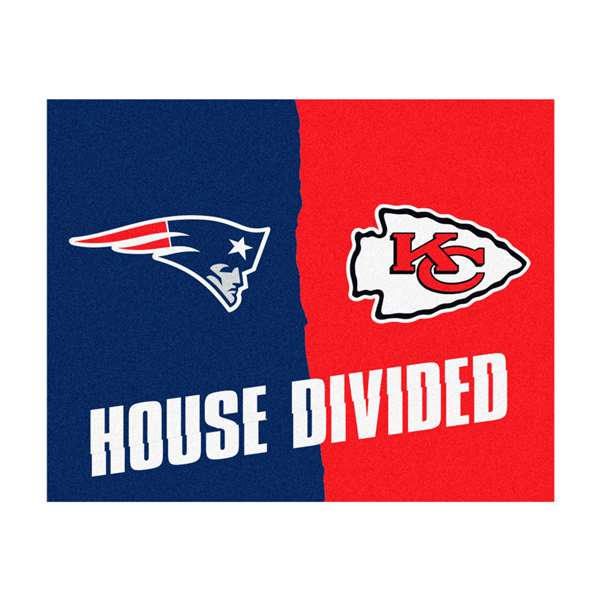 NFL House Divided - Patriots / chiefs House Divided Mat Rectangular Mats